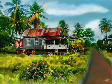 (House in Stanlytown Guyana' by James Mingo, via Fine Arts America. Click to see more.)