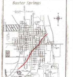 Path of tornado through Baxter Springs, KS April 27, 2014