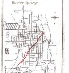 Path of tornado through Baxter Springs, KS April 27, 2014