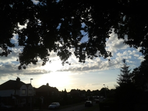 Photo of street in Cheshire UK at sun set, dark trees silhoutted against blue sky and fluffy white clouds