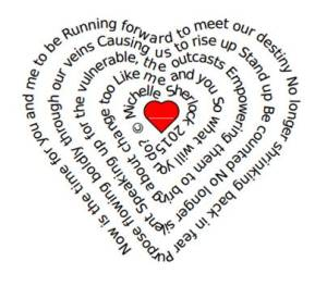 Now is the time poem by Mchelle Sherlock in the shape of a heart