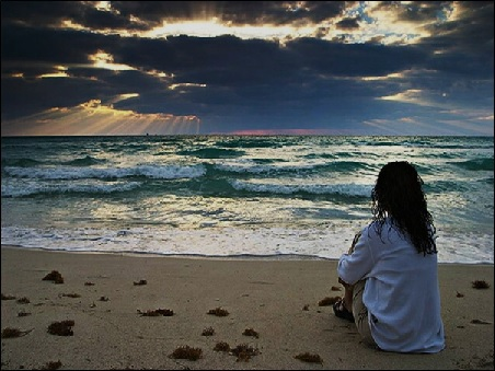 THOUGHTS - WOMAN SITTING ON THE BEACH - SMALLER