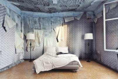 17934828 - luxury bed in abandoned interior