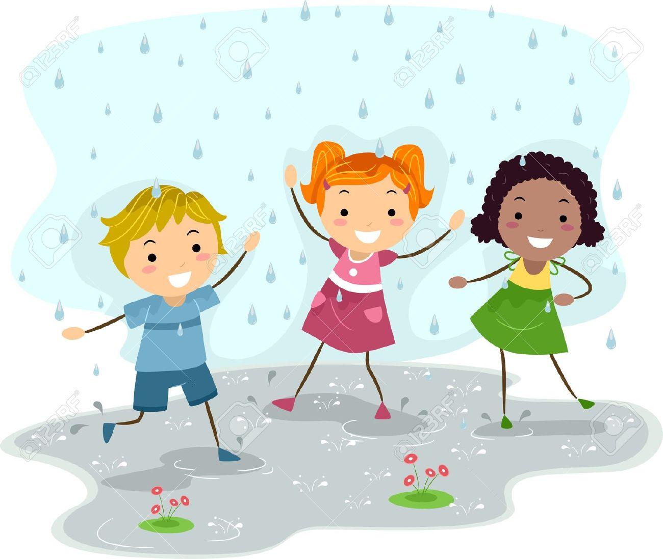 kids in the rain